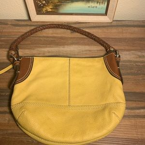 Fossil medium size yellow mustard leather bag